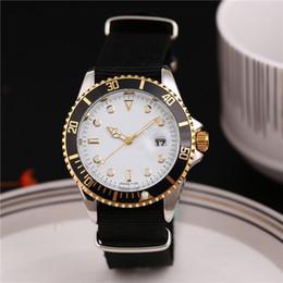 Wholesale Male Dress Design - Luxury Brand Automatic Date Male Quartz Watch Dress Wristwatch Mens Watch Nylon Case White Dial Swiss Design Drop Ship