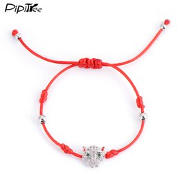 Wholesale White Braided String Bracelet - Wholesale- Cute Leopard Head Red String Bracelets & Bangles For Men Women White Gold Plated CZ Diamond Braided Rope Bracelet Charm Jewelry