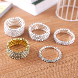 Wholesale Miao Bangles - High Quality 1-5 Row Bridal Wedding Spiral Bangle Bracelet Big Crystal Rhinestone Stretch Wristband Hot Sale Jewelry Accessories for Women