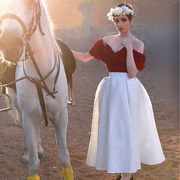Wholesale outdoor short wedding dress - 1950S Vintage Country Wedding Dresses Dark Red with White Lace Off Shoulder 2017 Custom Made Summer Beach Outdoor Bridal Wedding Party Gowns