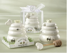 """Wholesale bee honey pot - Hot wedding souvenirs for guest """"Meant to Bee"""" Ceramic Honey Pot with Wooden Dipper ,event party favors"""