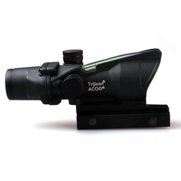 Optique de fibre optique en Ligne-ACOG 4X32 Style Optique Tactique Portée Real Fiber Optic Crosshair Rouge Véritable Rouge ou Vert Source de Fibre Duel Illuminé Rifle Scope