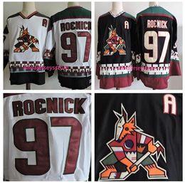 Wholesale Coyote Hockey - Men's Embroidery Phoenix Coyotes #97 Jeremy Roenick Black White 1998 CCM Vintage Stitched Ice Hockey Throwback Jerseys