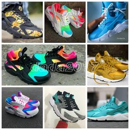 Wholesale Size 45 Mens Shoes - Huarache Sneakers Women And Mens Huaraches Colorful White Huarache Blue Running Shoes Sneakers Air Huarache Rainbow Shoes Size 36-45