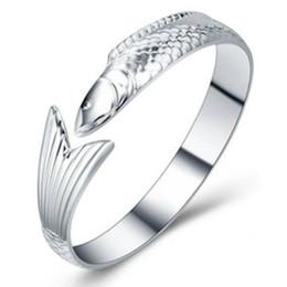 Wholesale Fish Cuff Bracelet - Wholesale-New Fish Bracelets & Bangle Silver Bracelets Opening Cuff Fashion Design Bracelet Jewelry Gift Free Shipping