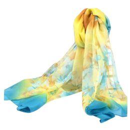 Wholesale Flower Hijabs - Wholesale- Summer Women Scarf Flower Printing Floral Beach Chiffon Bufanda Mujer Shawl Hijabs #OR