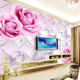 Wholesale Floral Design Photos - Custom Photo Wall Mural Modern design high quality 3d Room Wallpaper for Walls 3d Romantic Painting Pink Rose Floral Living Room fresco