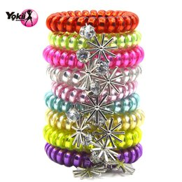 Wholesale White Wire Ties - YOKII New Arrivals Women Girl Mutilcolor Elastic Hair Band Fashion Popular Hair Tie Telephone Wire Style Gem Pendant Headwear Bracelet