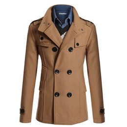 Wholesale Cashmere Overcoats Men - Wholesale- Hot Sale Trench Coat Men Double Breasted British Style Cashmere Mens Trench Coats High Quality Woolen Jacket Long Overcoat