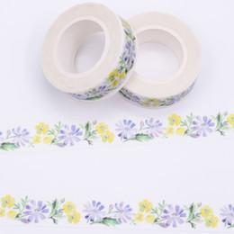 Wholesale Japanese Washi Masking Paper - Wholesale- 2016 Purple Flower Patterns Washi Tape Lot Of Japanese Masking Paper Tapes Decorative Adhesive Scotch Tape Set 1PCS