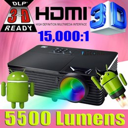 Wholesale Beamer Wifi Android - Wholesale-Android 4.4 WIFI home theater high brightness Daylight 5500ANSI DLP Projector 1080p full HD 3D video Proyector beamer for school
