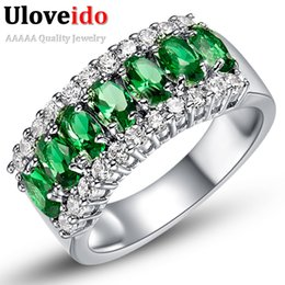 Wholesale Rings Large Stones - Uloveido Valentine's Day Gift Womens Silver Plated Red Wedding Large Colored Ring Red Green Zircon Sets Ringen Jewelry 2017 J501