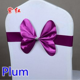 Wholesale Plum colour chair sash wedding mini style butterfly bow tie lycra band stretch bow tie ribbon for chair covers on sale