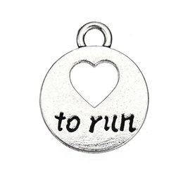 Wholesale Wholesale Love Word For Bracelet - Fashion Jewelry Love to Run Round Charm Word Letter Message Charms Zinc Alloy Silver Plated Accessory Pendant For Bracelet & Necklace