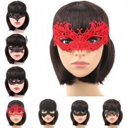 Wholesale Girls Fancy Party Dresses - Halloween Girls Women Black Red White Sexy Lady Lace Masks for Masquerade Party Fancy Dress Costume