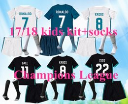 Wholesale Real Madrid Kids Soccer Jersey - 2018 Real madrid kids soccer Jersey 17 18 RONALDO home away 3rd black JAMES BALE RAMOS ISCO KROOS MODRIC Champions League patches shirts
