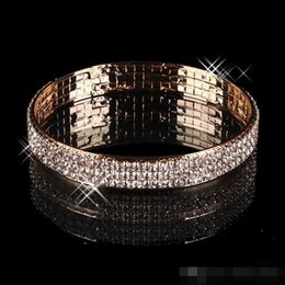 Wholesale Stone Evening Dresses - Gold Plated 3 Rows Rhinestone Stretch Bangle Bracelets For Evening Party Prom Dresses Bridal Jewelry Luxury Wedding Accessories Bracelet