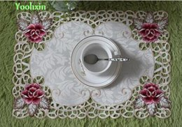 Wholesale Glass Dining Tables - Wholesale- HOT satin table place mat cloth lace embroidery pad pot cup mug holder drink coaster glass placemat felt doily dining kitchen