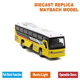 Wholesale Toy Buses For Kids - 18.5cm Length Diecast Kids Toys Bus Model, Car With Openable Doors Pull Back Function Light Sound Gift Box  For Children As Gift