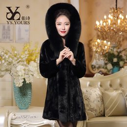 Wholesale Ladies Real Mink Jacket - New 2017 Women Real Pieces Mink Coat With a hood Genuine Mink Fur jacket Lady Winter Warm Natural Mink Fur Outwear