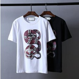 Wholesale Snake Paintings - 2017 Wholesale GU tee clothing Men's T-Shirts 3D red Plate snake painting hip hop clothing mens designer shirts plus size black white