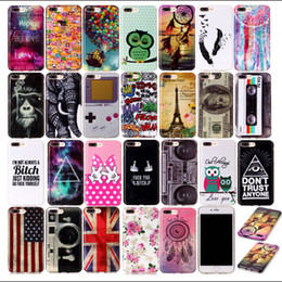 Wholesale Iphone Flag Back Covers - Owl UK USA Flag US Elephant tower aeolian bells Soft Back Cover TPU Case For iphone 7 iphone7 plus