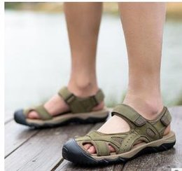 Wholesale First Sewing - 2017 new first layer of leather men's sandals men's casual outdoor beach shoes men's big code Baotou leather cool slippers
