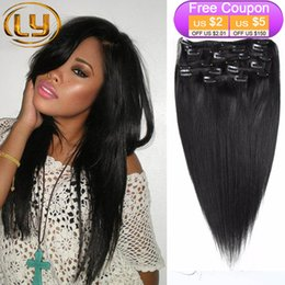 Wholesale 24 Inches Hair Clips - Full Head Clip in Human Hair Extensions Natural Black Hair Clip 10 Pieces Straight Brazilian Hair Clip in Extensions Bella Hair