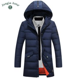 Wholesale Jungle Clothes - Wholesale- JUNGLE ZONE Men Casual Hooded Jackets Mens Long Down Jackets For Men Warm Clothing Overcoat 2017 NEW 8802