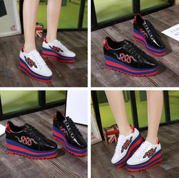 Wholesale Colorful Wedges Shoes - 2017 Autumn Fashion Wedges Woman Causal Shoes New Designer Embroidery Snake Colorful Thick Heel Cheap Sneaker Height Increasing With Box