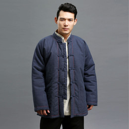 Wholesale Chinese High Collar Jacket - Wholesale- Men Winter Warm Jacket Stand Collar Coat Solid Color Cotton Linen Men Kung Fu Retor Parka Chinese Style High Quality Jacket Q470