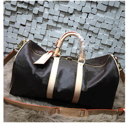 Wholesale Vintage Top Women - Top quality Men Travel Bag Women Duffle Bags Luggage cowhide oxidize leather vintage keep ALL 50 55 60cm Handbags with lock and key
