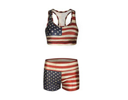Wholesale Usa Flag Vest - 100 set USA Flag Camisoles Retro Tanks Shirts Running Singlet Pinstriped Vest American Flag Gym Sports Tank Tops Print Sleeveless A066