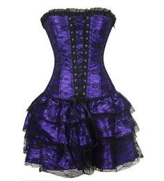 Wholesale Corset Casual Dresses - Sexy Underbust Corset and Bustier Lace Evening Women Casual Dress Plus Size Push Up Gothic Corset Dress S-2XL 5 Colors