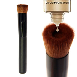 Wholesale liquid hair - High quality Large Flat Professional Perfecting Face Brush Multipurpose Liquid Foundation Brush Premium Premium Face Makeup Brush DHL Free