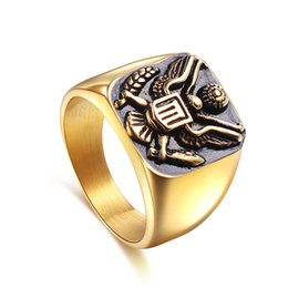 Wholesale Gold Ring Certificate - 2017 Stainless Steel Rings Luxury Square Big Simple US military certificate eagle Gold Silver Plated Mens rings Fashion Jewelry Wholesale