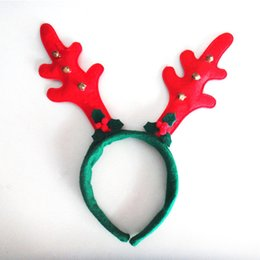 Wholesale Christmas Presents Ornaments - Christmas decorations present fashion DIY Party Red Christmas antlers hair bands Bells leaves high quality ornaments Party Supplie WD419AA
