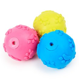 Wholesale Rubber Cat Toy - Pet Toy Cat Dog Training Accessories Articles Pets Rubber Grinding Teeth Footprints Round Ball Toys Non Toxic 2 08sj C R