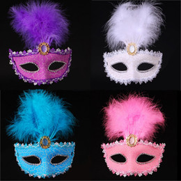 Wholesale Pink Masquerade Feathers - Women Painted Feather Masquerade Mask Venetian Masks Halloween Crack Cover Carnival Masks Graduation Bar Party Show Face Masks