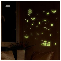 Wholesale Starry Nights Decorations - Y0038 20*25cm Bat Castle Star Luminous Stickers Home Decor Home Decoration Wall Sticker Kids Room Cute Bat Castle Star Starry Night