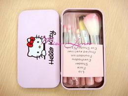 Wholesale 3Set ventas al por mayor Hello Kitty pinceles de maquillaje precioso conjuntos de rosa caja de lata de dibujos animados belleza pincel de maquillaje piezas set