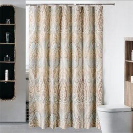 Wholesale Thick Polyester Shower Curtain - Wholesale- Customized fabric bathroom curtain Waterproof Bath Shower Curtain thick vintage polyester gray shower curtains with hooks