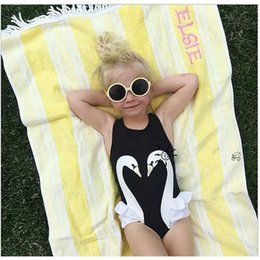 Wholesale Parrot Clothes - Hot Ins Baby Swimwear Clothes Kids Girl Swimsuit With Cap Black Swan Flamingo Parrot Boutique Princess Clothing Sets