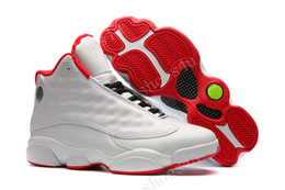 Wholesale Cheap Silk Shoes - (With Box) Cheap New Jumpman Air Retro 13 XIII ALL White Red Mens Basketball Shoes Sneakers Running Shoes For Men Sports Shoe Size 40-47