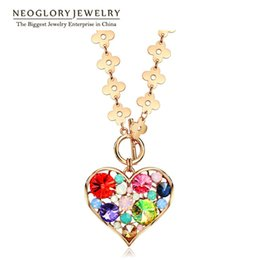Wholesale Heart Necklace Red Rose - MADE WITH SWAROVSKI ELEMENTS Rhinestone Rose Gold Plated Heart Neoglory Necklaces Pendants Women Jewelry 2017 New Brand Fashion GO HE1