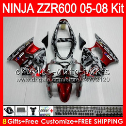 Wholesale Camouflage Kit - 8Gifts 23Colors Body For KAWASAKI NINJA ZZR600 05 06 07 08 32HM8 Camouflage 600CC ZZR-600 ZX600 05 ZZR 600 2005 2006 2007 2008 Fairing kit