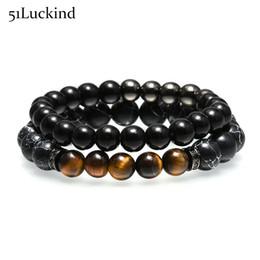Wholesale Tiger Eye Bracelet Sets - Luxury Black Natural Stone Mens Punk Couple Bracelet Tiger Eyes Copper Beads Braclet Set For Men Women Best Friend Jewelry
