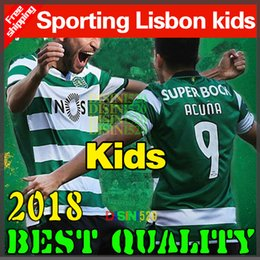 Wholesale Sports Jersey Kits - 2018 Sporting Lisbon jersey Kids Set 17 18 Clube de Portugal Sporting Lisbon home kids kit soccer jersey Lisboa Dost RONALDO Football shirt