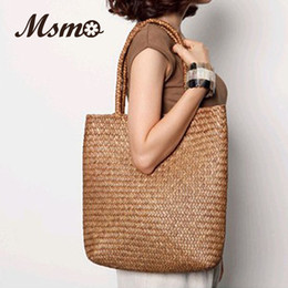 Wholesale Plain Straw Beach Bag - Wholesale-2016 New Summer Shoulder Bag Beach Large Straw Bags Handmade Woven Tote Designer Vintage Shopping HandBags Basket Bag
