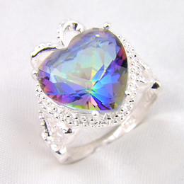 Wholesale Bulk Time - Time-limited Rushed Bohemian Rings 2pcs lot Bulk Price Christmas Gift 925 Sterling Silver Heart Rainbow Mystic Topaz Gems Ring R0176
